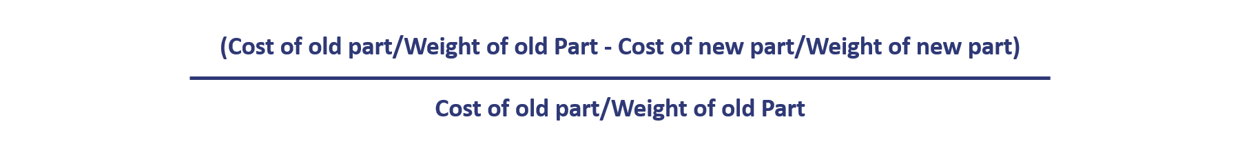 calculates cost of old part vs cost of new part