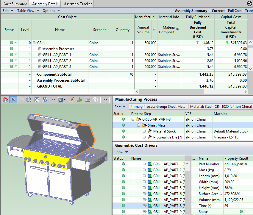 Screenshot of assembly details for manufacturing grill in China